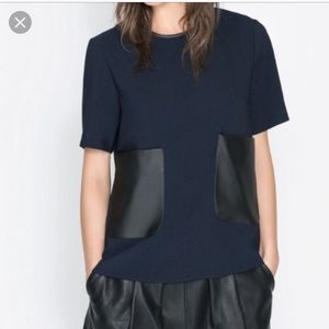 Zara Top Faux Leather Pockets
